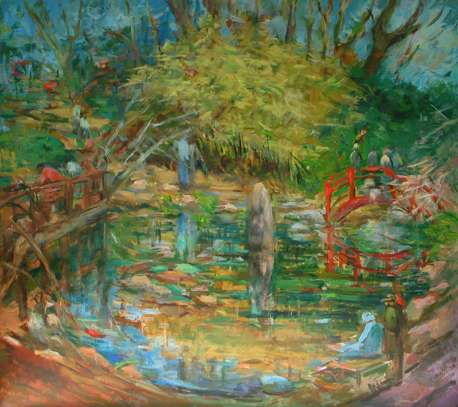 Bridge at the Birmingham Botanical Gardens | Oil on Canvas
