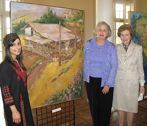 """The Sheepfold at Galilee"" by Miriam McClung, 2003. Oil on linen. Miriam (center) pictured with friends. Photo credit: Ivy Jackson."