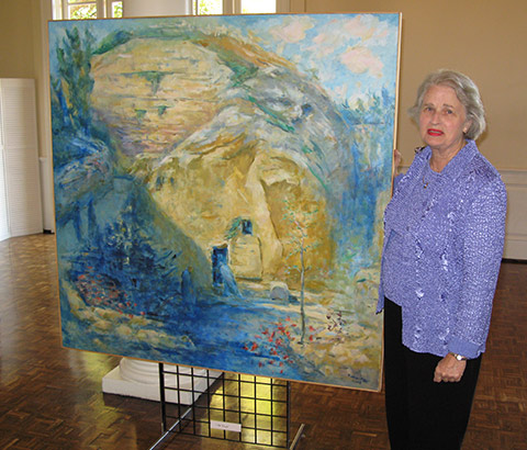 """Mary at the Tomb"" by Miriam McClung, 2004. Oil on linen. Miriam McClung pictured. Photo credit: Ivy Jackson."