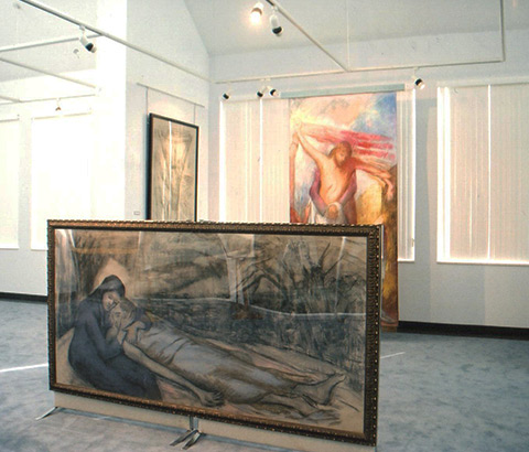 """The Pieta"" by Miriam McClung, 1991. Pastel on board. Stephens Gallery, Walton Fine Arts Center, University of the Ozarks."