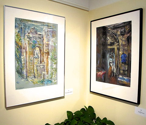 "Left: ""The Pool at Bethesda"" by Miriam McClung, 2004. Pastel on paper. Right: ""Indifference"" by Miriam McClung, 2004. Pastel on paper. Photo credit: Ivy Jackson"