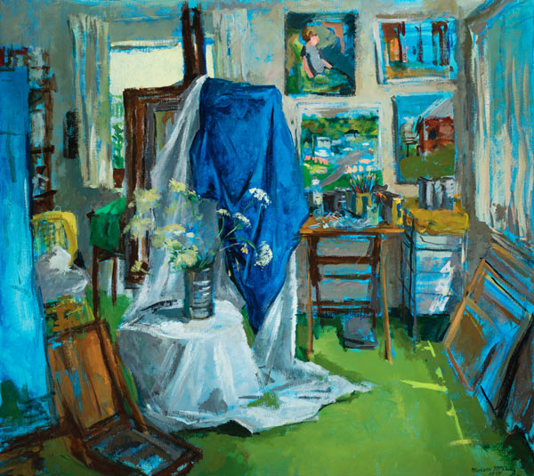 "The apartment studio in the mid-1970s from the painting ""The Studio"" by Miriam McClung"