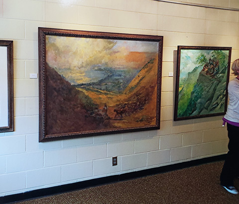 """Shepherd at Galilee"" (left) and ""Sermon on the Mount"" (right) by Miriam McClung. Oil on canvas."