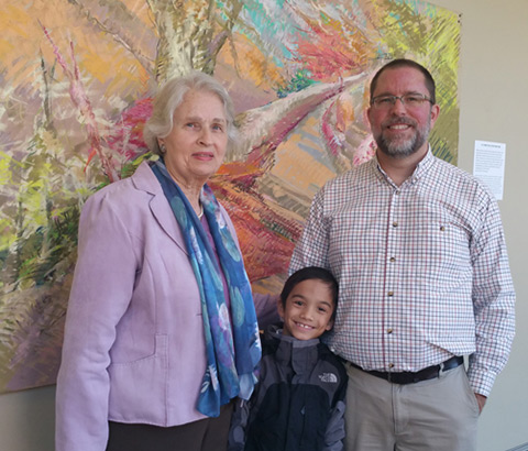 """Way of the Cross"" show sponsored by INSPERO at Oak Mountain Presbyterian Church in Birmingham, Alabama. Miriam McClung with grandson Levi and son Frank pictured."