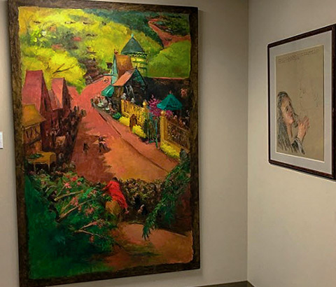 "Left: ""Christ Enters Jerusalem"" by Miriam McClung, 1996. Oil on linen. Right: ""Rabboni"" by Miriam McClung, 1989. Pastel and pen on paper."
