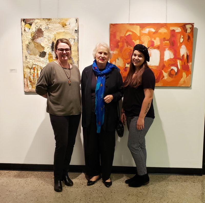 Allison McElroy (Art Professor at Jacksonville State University), Miriam McClung, Morgan Worsham (Gallery Director)