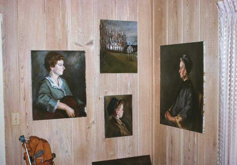 Paintings done by Miriam on the wall of the cottage she stayed in while attending the Farnsworth School.
